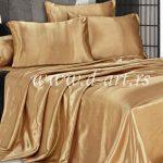 zlatni komplet posteljine od svilenog satena