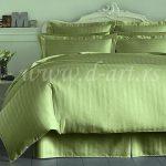 zelena damast posteljina na pruge