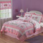 roze beli pacvork prekrivac za decu