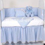 plava posteljina za decu suknjicom