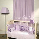 ljubicasta posteljina za deciju sobu i draperija