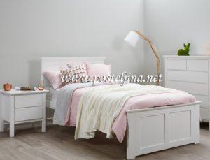 Posteljina za singl krevet u beloj boji